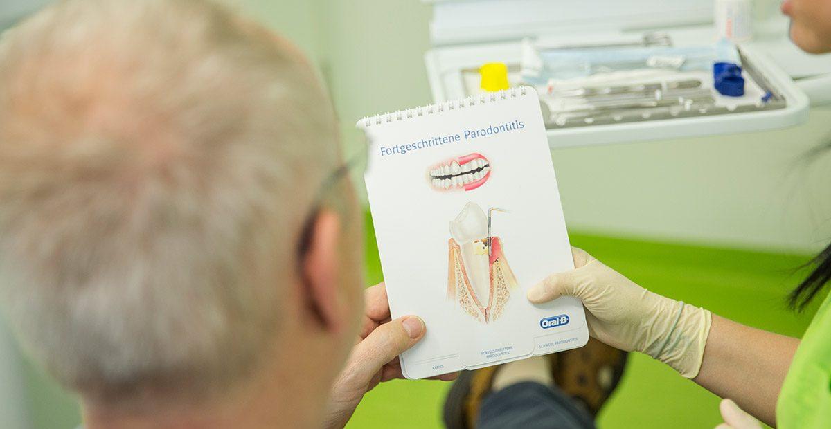 """Hand von Mitarbeiterin hält einen Informationsblatt mit dem Titel """"Fortgeschrittene Parodontitis"""" in den Händen und zeigt sie einem älteren Patientin, von dem nur der Hinterkopf zu sehen ist."""